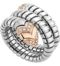 Bulgari Serpenti Tubogas 18Ct Pink Gold Diamond And Stainless Steel Ring