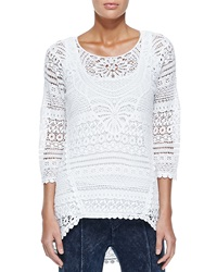 Delaney Crochet 3 4 Sleeve Top White Women's Xcvi