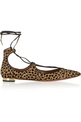 Aquazzura Christy Leopard Print Calf Hair Ballet Flats