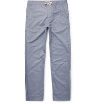Oliver Spencer Loungewear Lux Cotton Chambray Lounge Trousers Blue