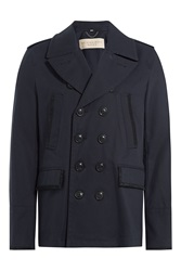 Burberry Brit Cotton Gabardine Trench Jacket Blue