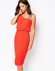 Warehouse One Shoulder Diamante Dress Brightred