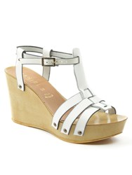 Daniel Prati Grace Wooden Wedge Sandals White