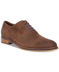 Johnston And Murphy Conard Cap Toe Oxfords Men's Shoes Brown Suede