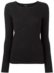 James Perse Ribbed Scoop Neck Jumper Black