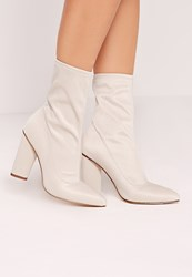 Missguided Pointed Toe Neoprene Heeled Ankle Boots Cream Cream