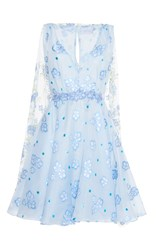 Luisa Beccaria Organza Fil Coupe Short Dress With Cape Blue