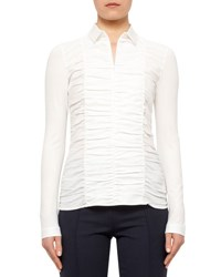 Akris Punto Ruched Front Fitted Blouse Cream
