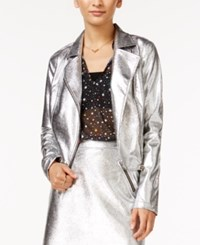 In Awe Of You By Awesomenesstv Awesomeness Tv Juniors' Metallic Moto Jacket Silver