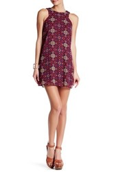 Be Bop Sleeveless Boho Print Chiffon Halter Shift Dress Purple
