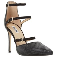 Dune Catarina Triple Strap Two Part Heeled Court Shoes Black Leather