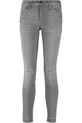 Current Elliott The Stiletto Distressed Mid Rise Skinny Jeans Anthracite