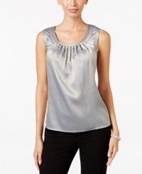 Kasper Pebble Charmeuse Pleat Neck Shell Silver