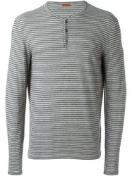 Barena Buttoned Striped Longsleeved T Shirt Grey