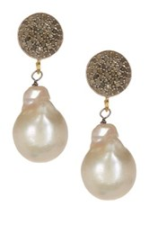 Sterling Silver Diamond And 12Mm Freshwater Pearl Dangle Earrings