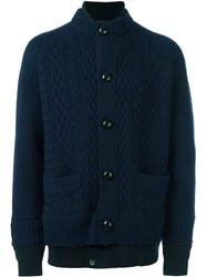 Sacai Layered Cable Knit Cardigan Blue