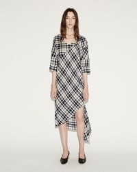 Rachel Comey Plaid Grateful Dress Ivory Navy