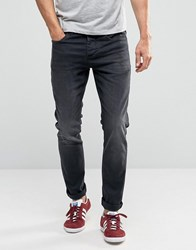 Selected Skinny Fit Stretch Jeans In Washed Black Denim Grey