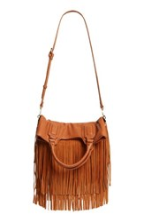 Sole Society Fringe Foldover Tote Brown Cognac
