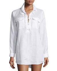 Tory Burch Lace Up Tunic White