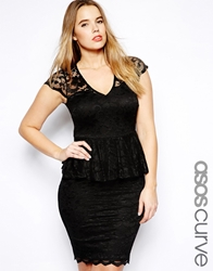 Asos Curve Exclusive Peplum Dress In Lace Black