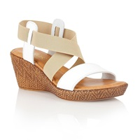 Lotus Emiliano Wedge Sandals White