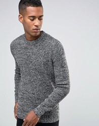 New Look Tuck Stitch Jumper In Grey With Pattern Grey Black