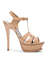 Saint Laurent Tribute Patent Leather Platform Sandals In Neutrals