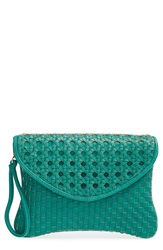 Sole Society 'Averie' Woven Faux Leather Clutch Teal