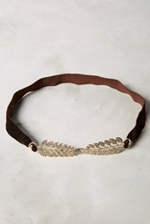 Anthropologie Clasped Leaves Belt Chocolate