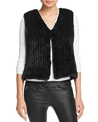 Aqua Knit Faux Fur Vest Black
