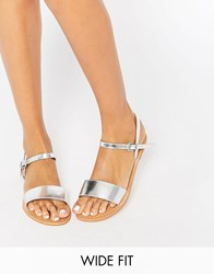 Asos Flight Wide Fit Leather Sandals Silver