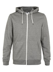 Topman Long Sleeve Zip Through Hoodie. Black