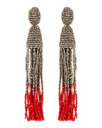 Oscar De La Renta Long Ombre Bead Tassel Clip On Earrings Silver Pink