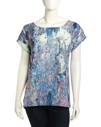 Christopher Blue Cap Sleeve Marbleized Print Combo Blouse Multi
