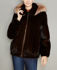 The Fur Vault Mink Hooded Bomber Jacket Mahogany Crystal