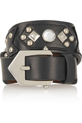 Givenchy Studded Wrap Bracelet In Silver Tone Crystal And Black Leather