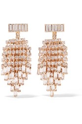 Kenneth Jay Lane Gold Plated Crystal Earrings Clear