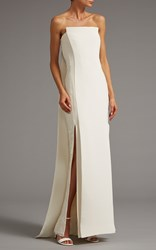 Elizabeth Kennedy Column Gown With Lace Side Panels And Back Drape White