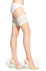 Women's Charnos 'Lace' Thigh High Stay Up Stockings Champagne Ivory