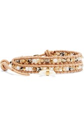 Chan Luu Gold Plated Mother Of Pearl And Suede Wrap Bracelet