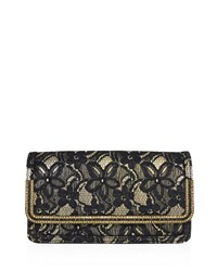 Judith Leiber Lenox Lace Crystal Trim Clutch Bag Black Gold Black Gold