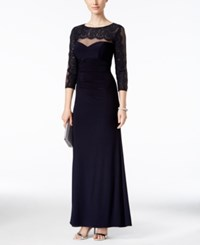 Xscape Evenings Illusion Lace Sweetheart Gown Navy