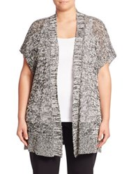 Eileen Fisher Organic Cotton And Linen Open Front Cardigan Black Multi