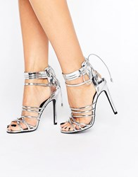 Missguided Metallic Strappy Heeled Gladiators Silver