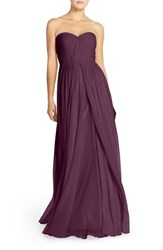 Women's Jenny Yoo 'Mira' Convertible Strapless Pleat Chiffon Gown Black Currant