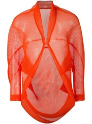 Issey Miyake Pleats Please By Open Front Mesh Cardigan Yellow And Orange