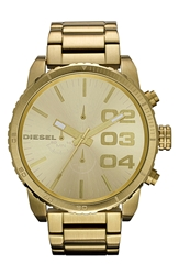 Diesel 'Double Down' Large Chronograph Bracelet Watch 52Mm Gold