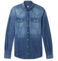Dolce And Gabbana Slim Fit Washed Denim Western Shirt Blue