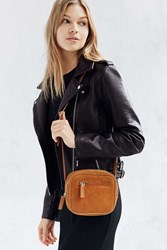 Cooperative Suede Square Zip Crossbody Bag Brown